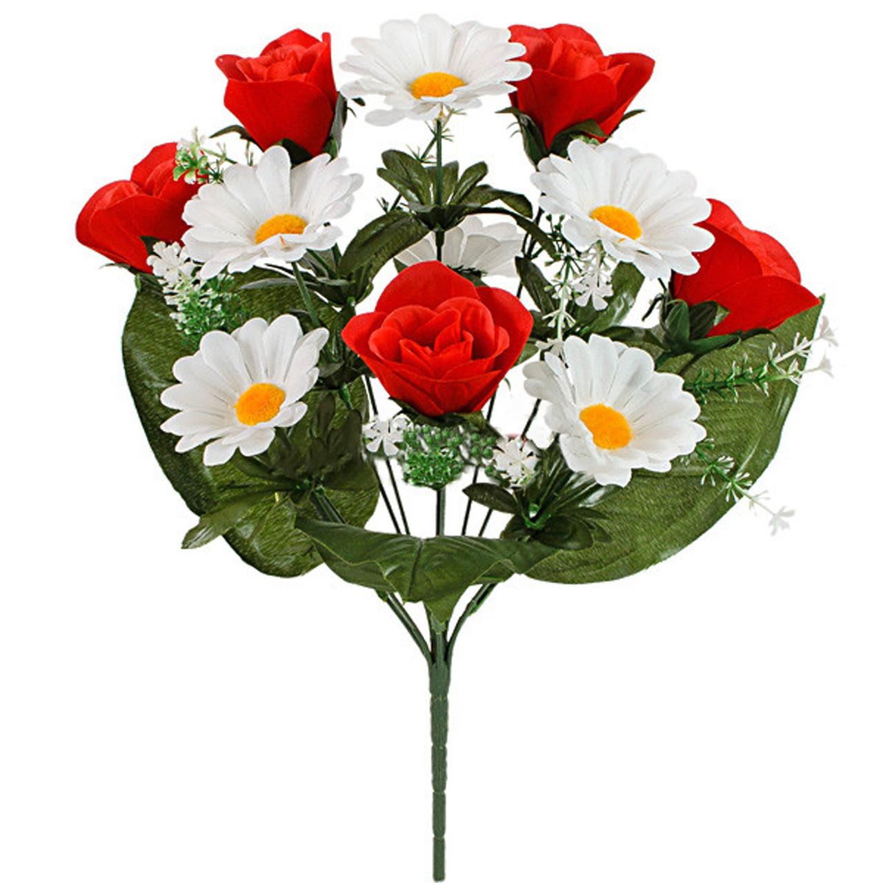 Букет бархатных бутонов роз с ромашкой, 37см