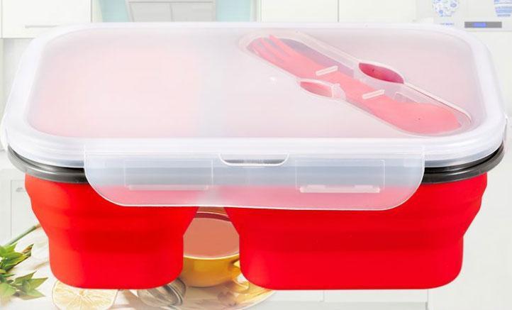 Ланчбокс силиконовый складной двойной (красный)
