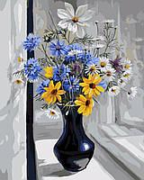 Картина-раскраска (цветной холст)  Васильки и ромашки 40 х 50 см (PGX7994)