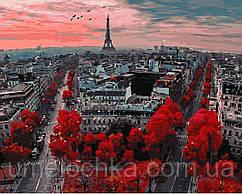 Картина-раскраска (цветной холст)  Алые краски Парижа  40 х 50 см (PGX4887)