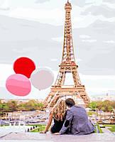 Картина-раскраска (цветной холст)  Парижская любовь 40 х 50 см (PGX4886)