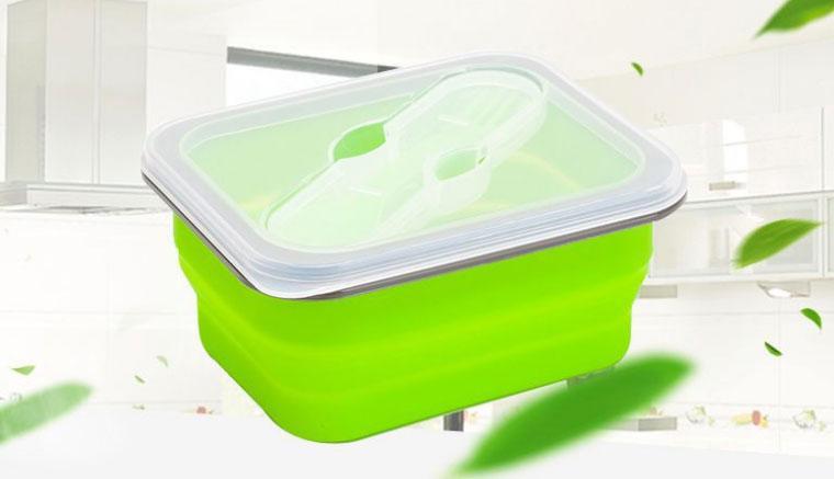 Ланчбокс силиконовый складной (зелёный)