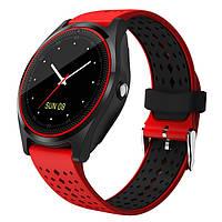 Умные часы V9 для iOS/Android (Smart watch) шагомер, черно-зеленые, фото 1