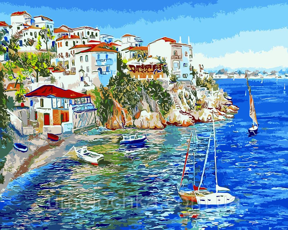 Картина по номерам Белые домики Греции 40 х 50 см (BRM9627)