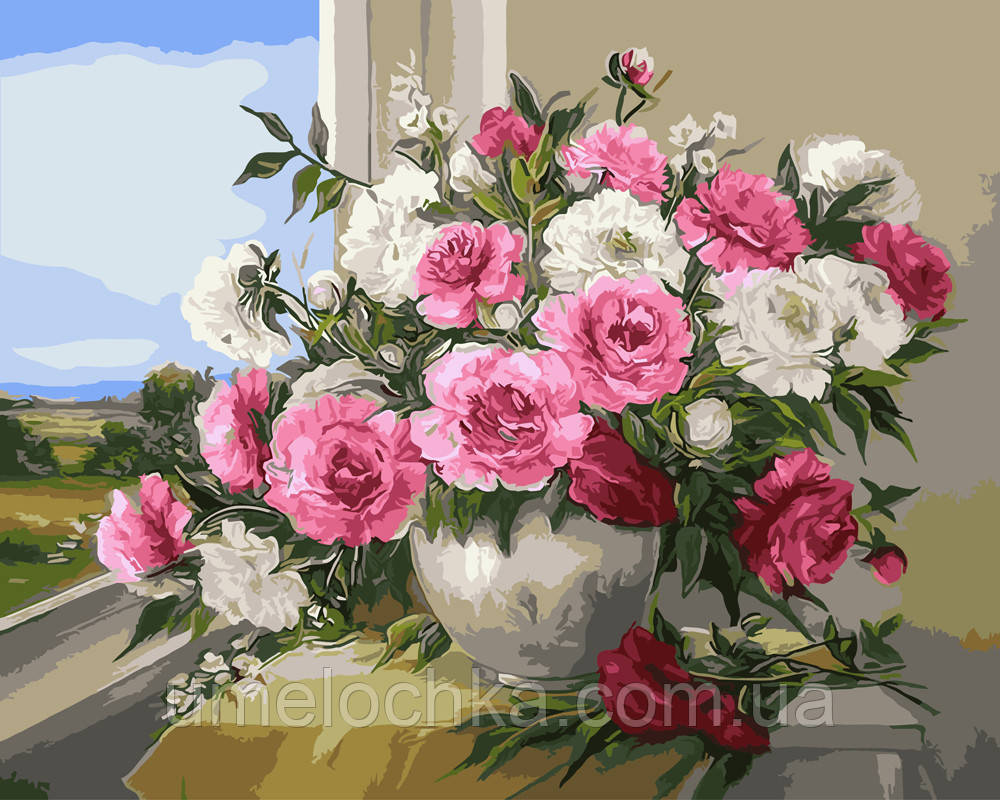Картина по номерам Пионы у окна 40 х 50 см (BRM9418)