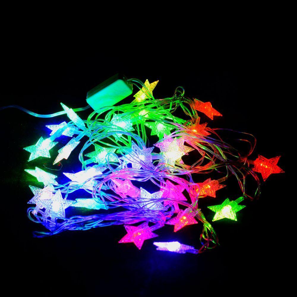"""Світлодіодна гірлянда VENOM """"Зірка"""" 30LED RGB, білий провід (LS-STAR-30LED-WC-RGB) RGB"""