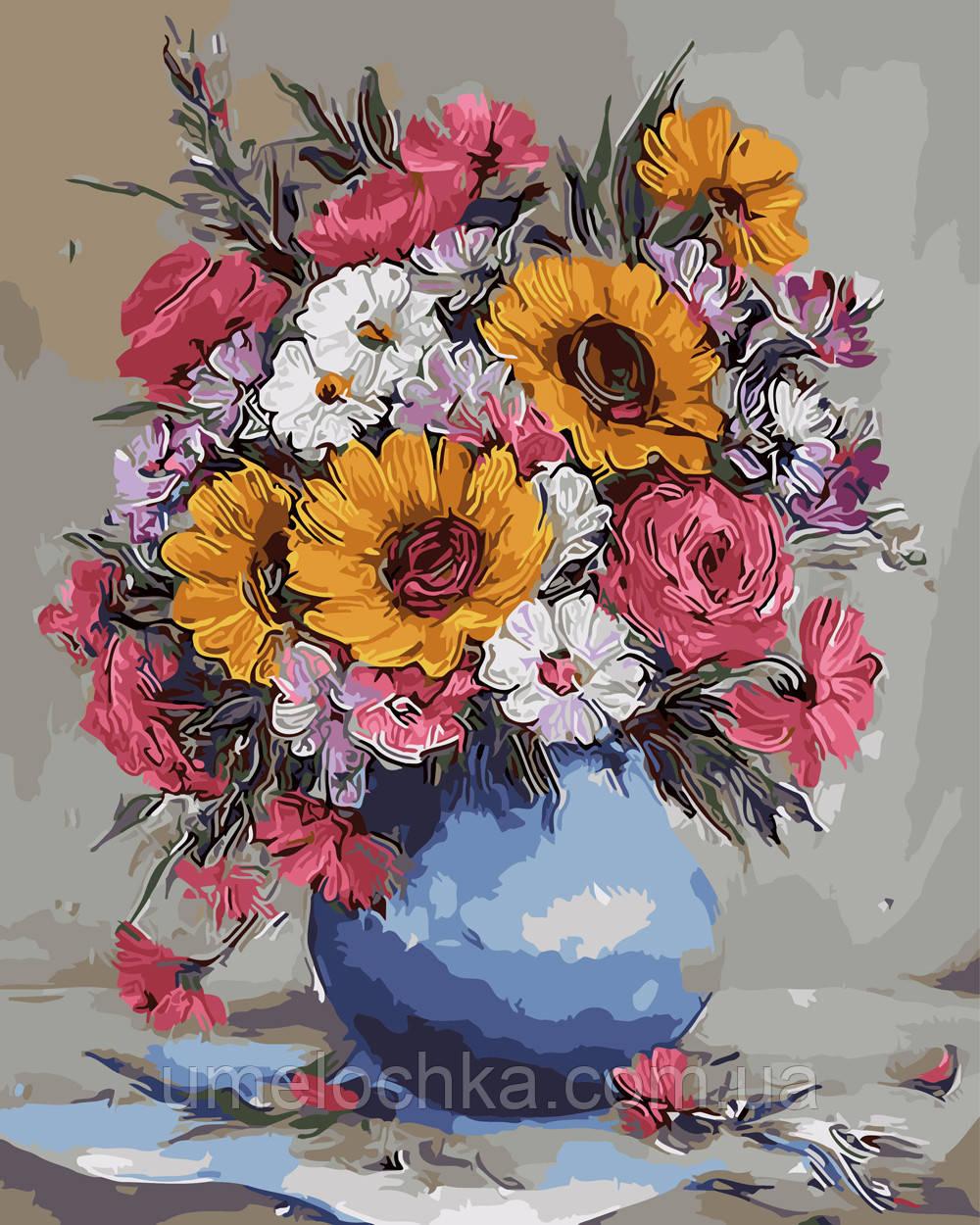 Картина по номерам Яркий букет в синей вазе 40 х 50 см (BRM9417)