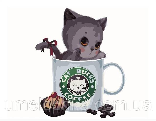 Картина по номерам Серый котик в кофейной чашке 40 х 50 см (BRM8398)