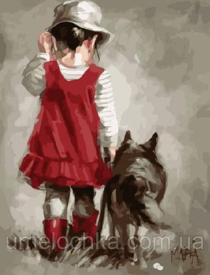 Картина по номерам Малышка с собакой 40 х 50 см (BRM8378)