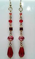 Серьги - красные из чешского хрусталя в подарок, фото 1