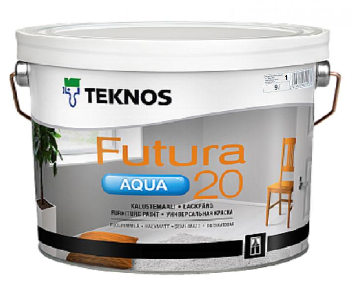 Краска уретан-алкидная TEKNOS FUTURA AQUA 20 водоразбавляемая (полуматовая) 9 л