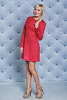 Платье короткое замшевое красное