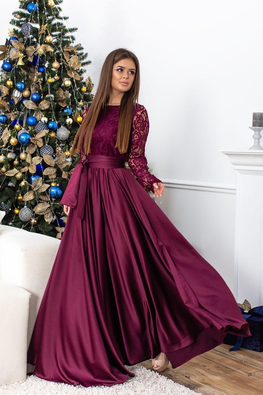 a43d9844b07 Вечернее платье длинное из атласа и гипюра с пышной юбкой - Интернет-магазин