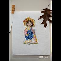 """Набор для вышивания крестом """"Осенняя девочка"""""""