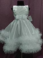 Платье детское нарядноес пушистой юбочкой на 3-5 лет белое