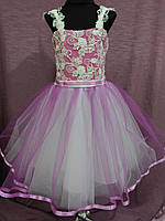 Платье детское нарядное на 4-7 лет белое с фиолетовым