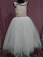 Платье детское нарядное на 6-10 лет пудровое с белым