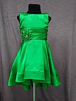 Платье детское нарядное с каскадной юбкой на 3-5 лет зеленое, фото 1