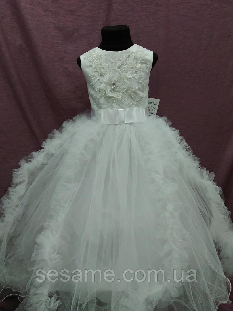 Платье детское нарядное с пушистой юбочкой белое на 7-10 лет