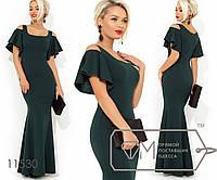 648a4d62ad29156 Вечернее платье-русалка с разрезами на плечах и короткими рукавами-волан  11530