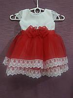 Платье детское нарядное на 1-2 года белое с красным
