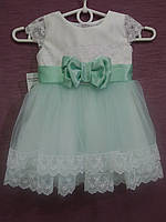 Платье детское нарядное на 1-2 года белое с мятным