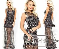Вечернее платье-мини из креп дайвинга с V-образым вырезом и не съемной накидкой в пол из сетки с накатом звезд