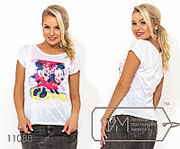 """Белая футболка из ткани  """"марлевка"""" с коротким рукавом и накатом на груди ( ткань просвечивается, возможен шов по спинке) 11088"""