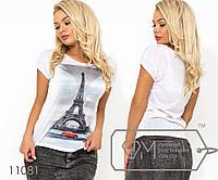 """Белая футболка из ткани  """"марлевка"""" с коротким рукавом и накатом на груди ( ткань просвечивается, возможен шов по спинке) 11081"""