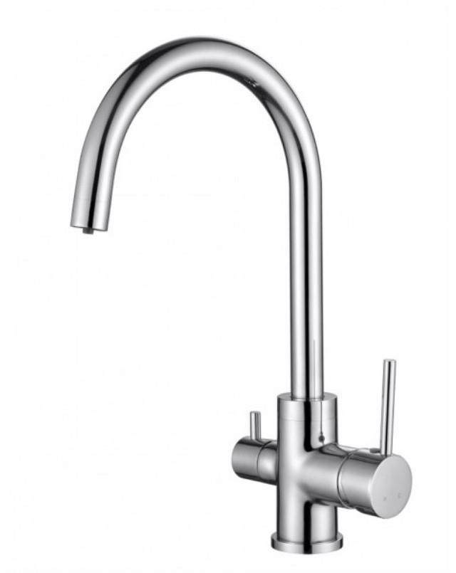 Смеситель для кухни с краном питьевой воды, латунный, однорычажный  KAISER MERCUR 26744 Хром