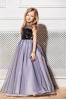 Нарядное платье на девочку 6-10 лет с паетками черное с белым