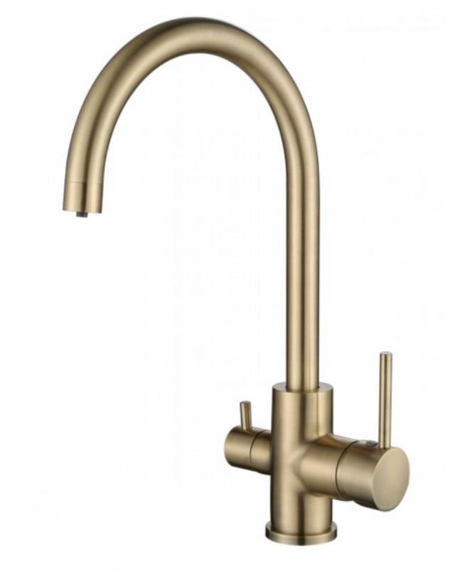 Смеситель для кухни с краном питьевой воды, латунный, однорычажный  KAISER MERCUR 26744-3 Бронза