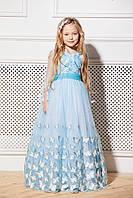 Платье детское нарядное с рукавом на 7-12 лет белое с голубым