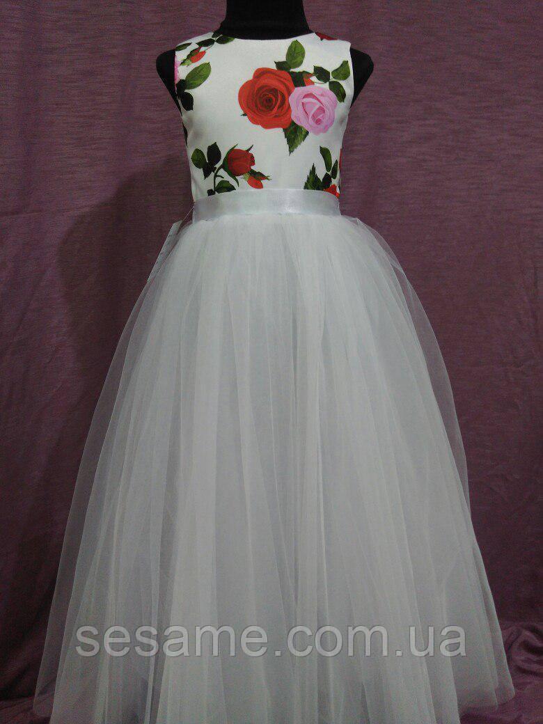 Платье детское нарядное на 6-10 лет белое с красным