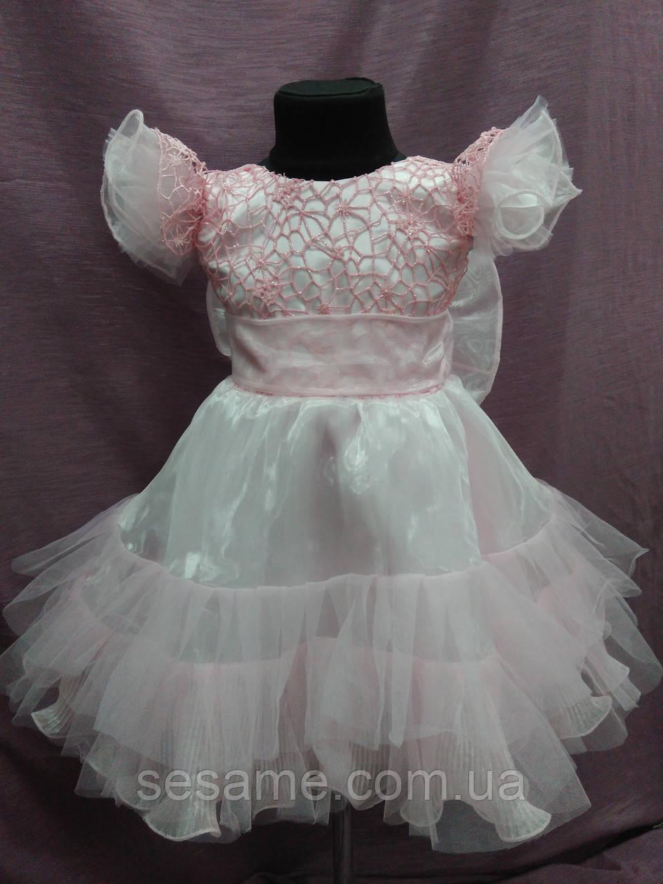 Платье детское нарядное нежно-розовое на 3-5 лет