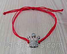 Браслет-оберег красная нить с короной