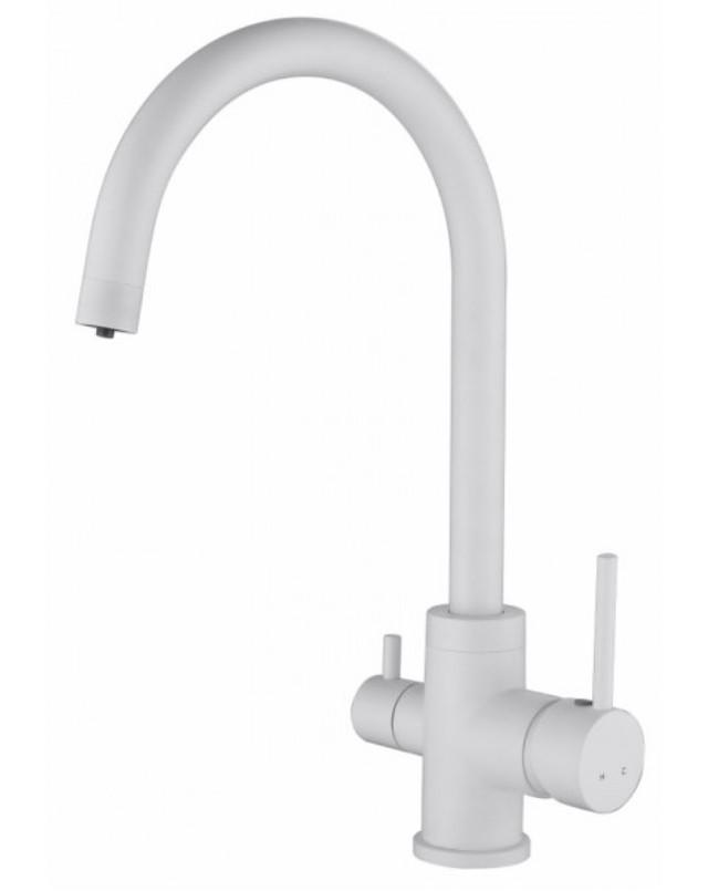 Смеситель для кухни с краном питьевой воды, латунный, однорычажный  KAISER MERCUR 26744-4 Белый