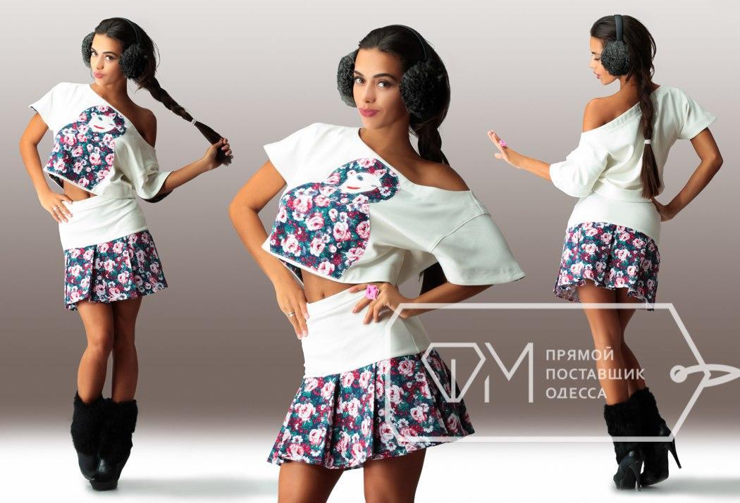 Костюм Матрёшка из дайвинга и джинса - мини-юбка на кокетке и свободная блузка с короткими рукавами, 4 цвета