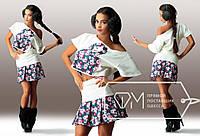 Костюм Матрёшка из дайвинга и джинса - мини-юбка на кокетке и свободная блузка с короткими рукавами, 4 цвета, фото 1