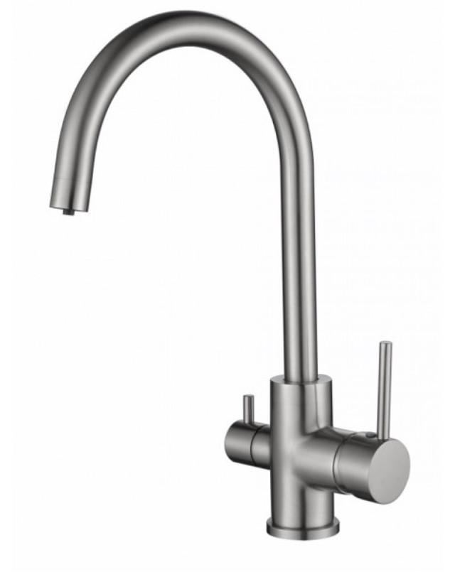 Смеситель для кухни с краном питьевой воды, латунный, однорычажный  KAISER MERCUR 26744-5 Серебристый