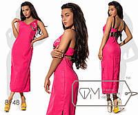 Платье миди прямое из льна без рукавов с разрезами по бокам и декольте на всю спину с лентами, 1 цвет