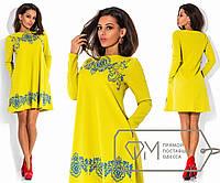 Платье мини свободного покроя с длинным рукавом из трикотажа соты с фактурным, 2 цвета