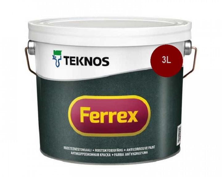 Емаль алкідна TEKNOS FERREX антикорозійна (червона) 3 л