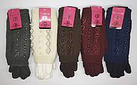 """Женские трикотажные перчатки c довязом """"Ronaerdo"""". Со стразами и бусинами. Тонкий мех."""