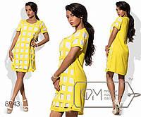 Платье-туника мини прямое из креп-шифона на масле с передом и короткими рукавами в ажурный квадрат, 1 цвет