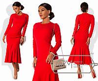 ce305c252f4 Платье миди покроя русалка из креп-дайвинга с длинным рукавом и отрезной  оборкой 7418