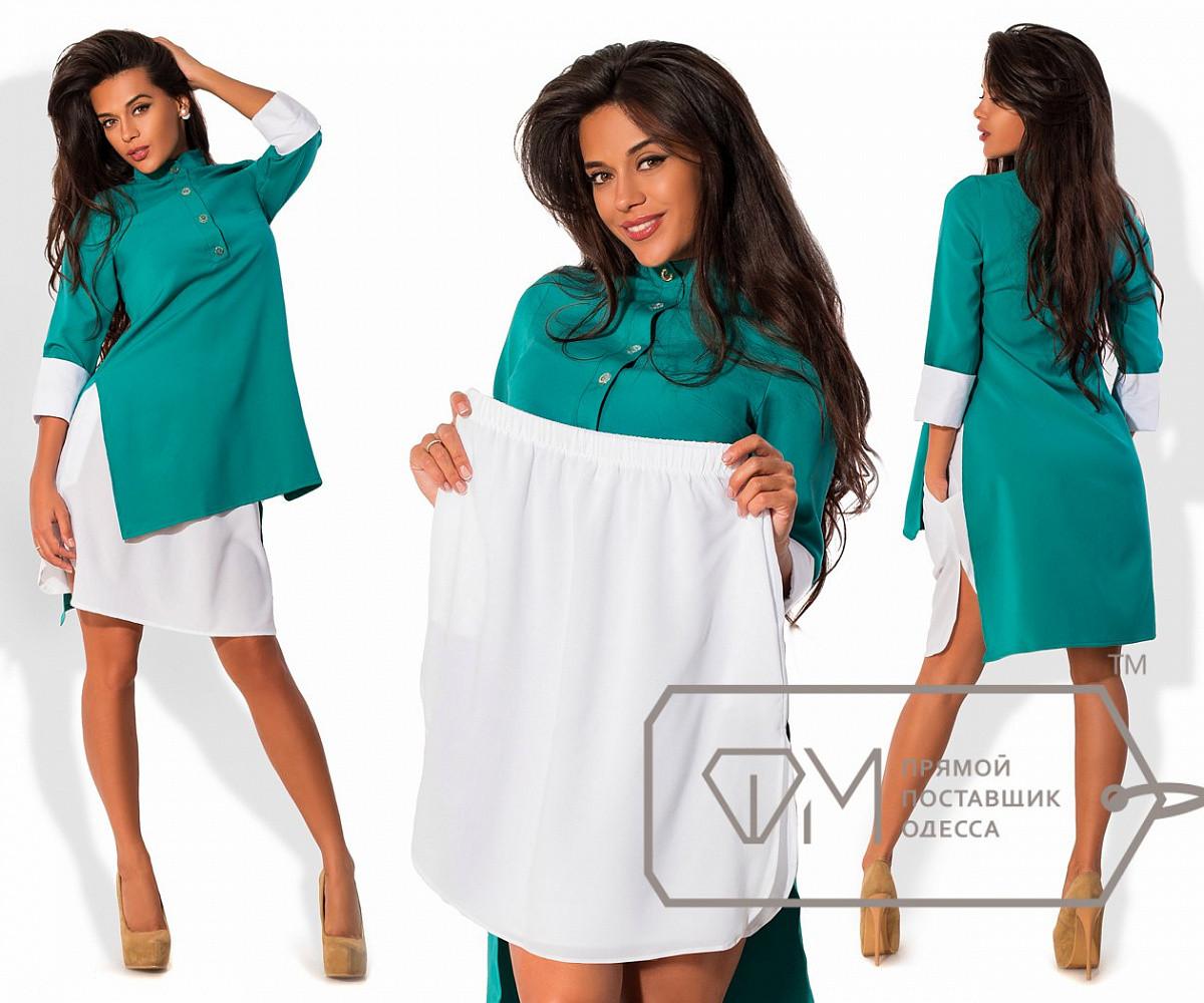 Платье-костюм с разрезами - поло-фрак из креп-костюмки и нижняя юбка мини из креп-шифона, 2 цвета