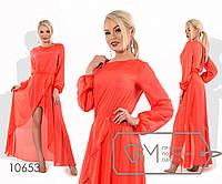 Платье макси прямое из шифона с резинками по талии и рукавам, щелевым декольте, юбкой-тюльпан, 4 цвета