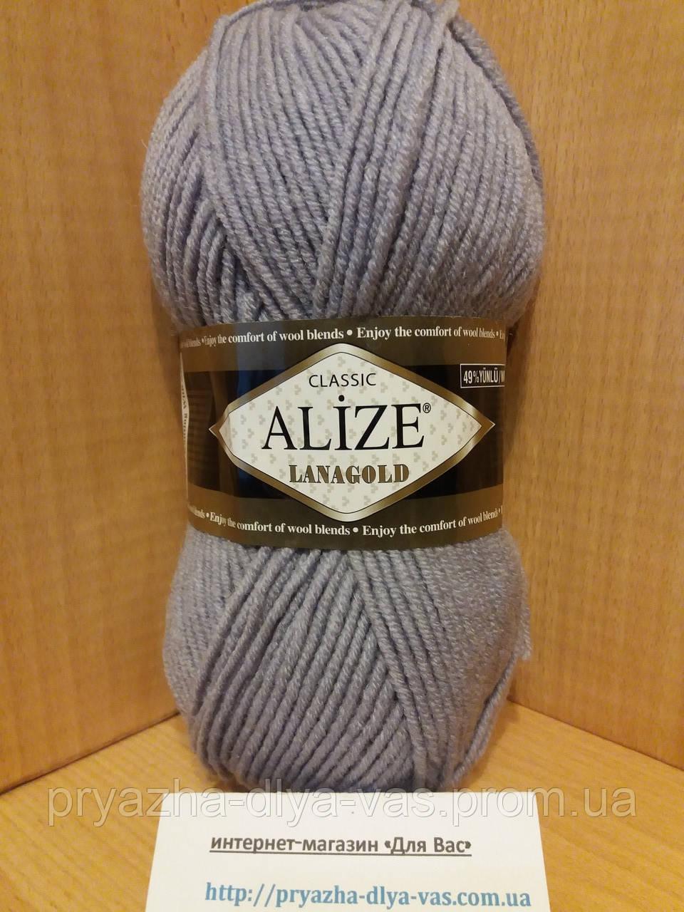 Полушерстяная пряжа (49%-шерсть,51%-акрил,100г/240м) Alize Lanagold 200(серо-голубой)