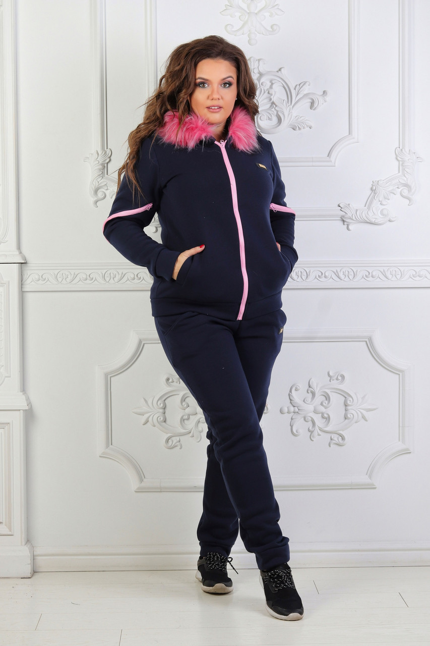Женский зимний спортивный костюм: штаны и кофта с капюшоном с пышным мехом, больше размеры